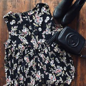 Pleated Back Shift Dress